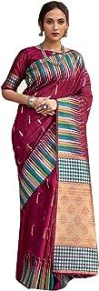 Indian Pure Tussar silk weaving saree with Ikkat Weaved Border Zari Pallu Eid party Sari Blouse 6422