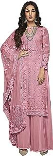 Indian Wear Sharara Palazo Designer Partywear Rose Pink Salwar Kameez Full Sleeve Suit for Women