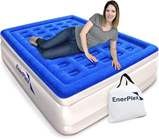 EnerPlex Dual Pump Luxury Queen Size Air Mattress Airbed with Built in Pump Raised Double High Queen Blow Up Bed for Home Camping Travel 2-Year Warranty
