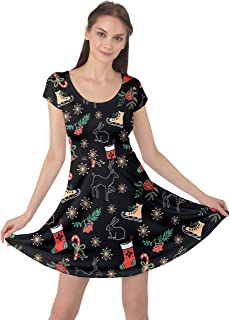 CowCow Womens Winter Christmas Tree Santa Deer Xmas Vintage Snowman Short Sleeve Dress, XS-5XL