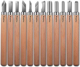Preciva Outil de Gravure en Bois Kit, 12 Pièces Décapage Couteau Sculpture sur Bois, Ciseaux à Bois, DIY Outil de Sculptur...