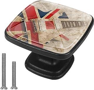 Paquet de 4 boutons d'armoire de cuisine, boutons pour tiroirs de commode Flag Musical Instrument Guitare Tire les poignée...