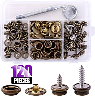 Swpeet 120Pcs Bronze Fastener Screw Snaps with 1Pcs Snap Setting Tool Kit,  Stud Snap with 3/8 Inch and 5/8 Inch Screw,  Snap Button Screw-in Studs Pack for Furniture Canvas Fabric Boats