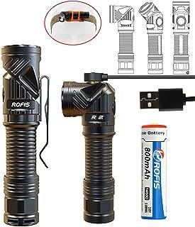 Rofis R2 小型軽量 多機能充電式ハンディライト CREE XM-L2 U3 LED 700ルーメン IPX8 防水2M LED懐中電灯 ヘッド0-90度回転式 l型 フラッシュライト 5モード明るさ+ストロボ+SOS 持ち 小型ライト 強力 14500電池内蔵 / マグネット 吸着充電 マグライト/単三(AA)電池使え LEDヘッドライト