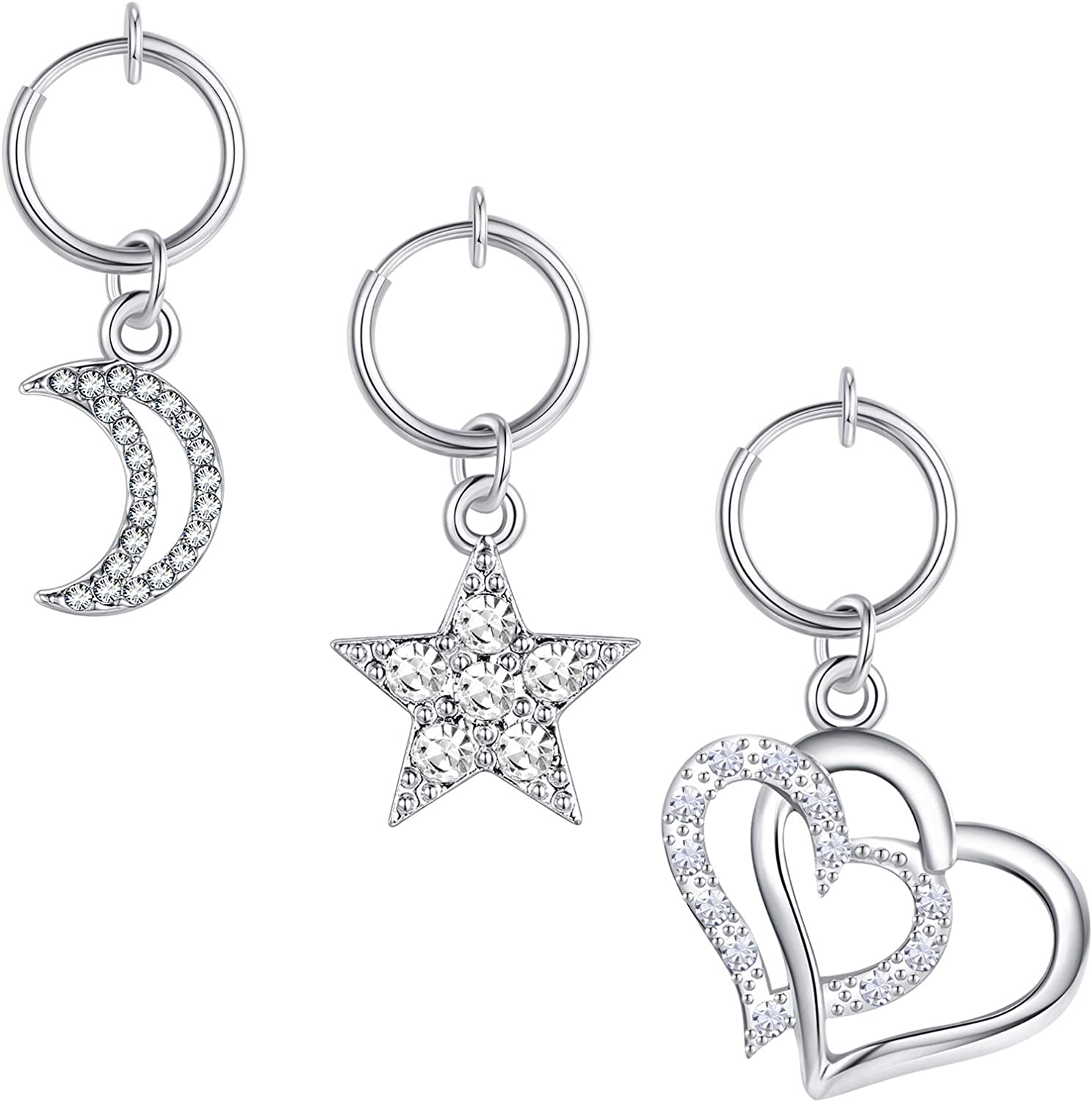 MODRSA Clip on Belly Button Rings Fake Belly Piercing Fake Belly Rings Non Piercing Navel Ring