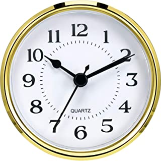Hicarer 3-1/2 Inch (90 mm) Quartz Clock Fit-Up/Insert with Arabic Numeral, Quartz Movement (Gold Rim)