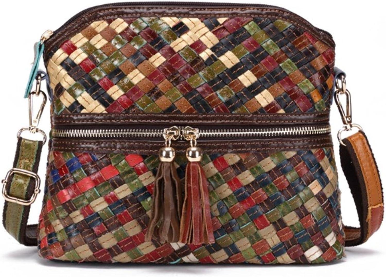 Women Designer Handmade Patchwork Crossbody Bags Feminina Genuine Leather Women Weaved Messenger Bag
