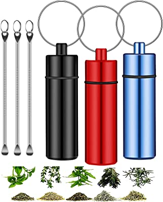 OHOH 3 Pcs Mini Stash Jar with Keychain and digging spoon, Portable Airtight Smell Proof Jar Aluminum Storage Container for Herbs, Spices, Match for Outdoor Camping Travelling