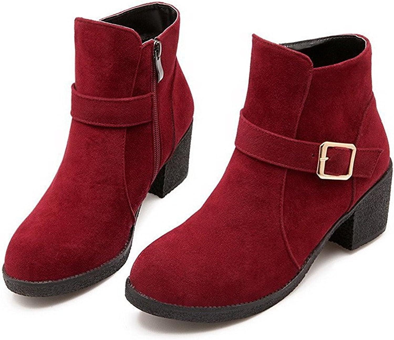 Reinhar Women's Low Top Solid Zipper Round Closed Toe Kitten Heels Boots