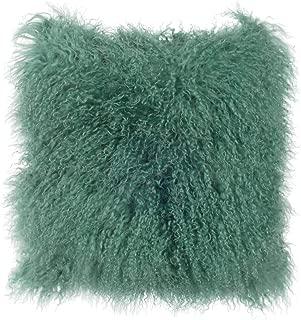 SLPR Mongolian Lamb Fur Throw Pillow Cover (16'' x 16'', Sea Breeze) | Real Fur Decorative Cushion Cover Pillow Case for Living Room Bedroom