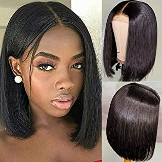 CCOLLEGE Hair Short Bob Wigs Human Hair Lace Front Wigs For Black Women Brazilian Virgin Hair Straight Bob Wigs with Baby Hair Remy Hair Wigs Natural Color 8 Inch