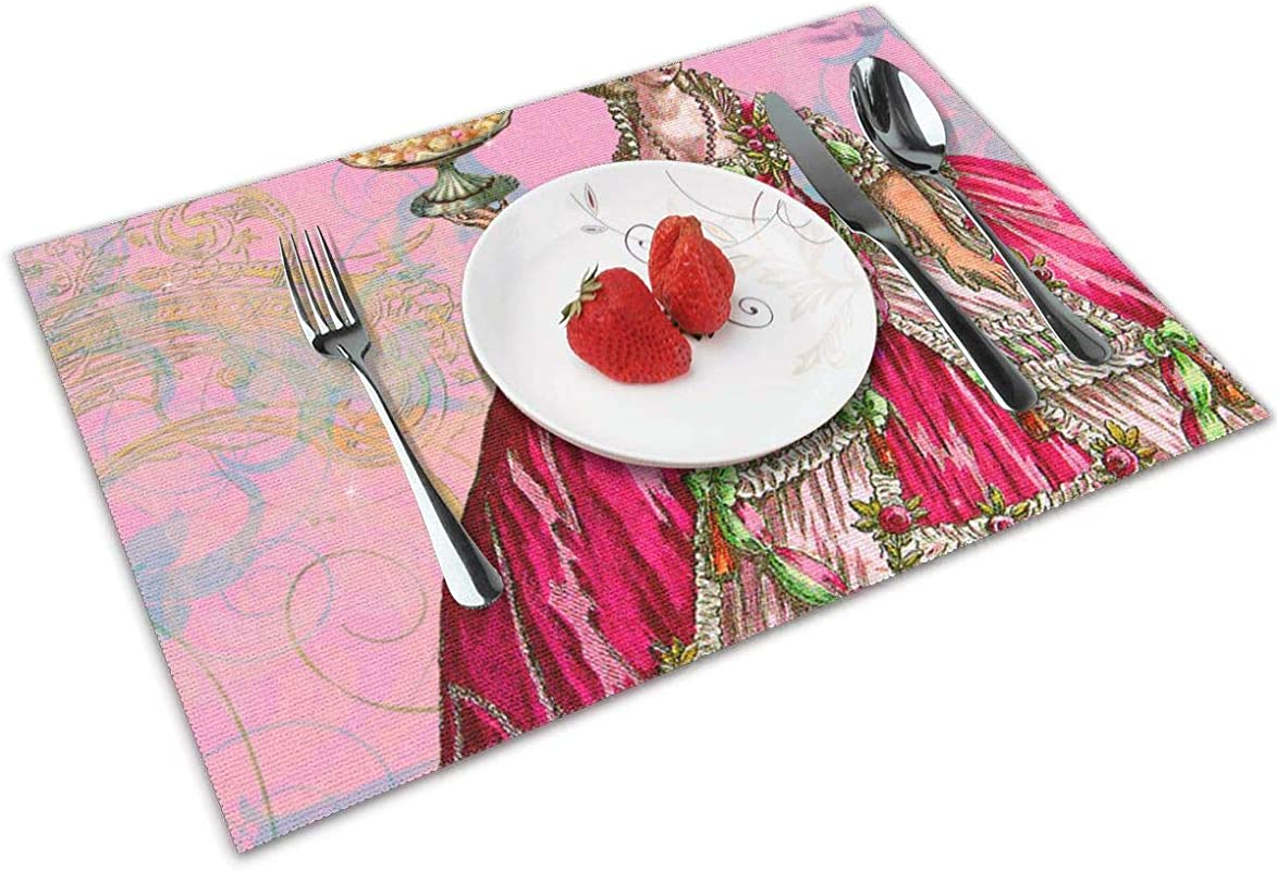 Chang Jin You Placemats Set Of 4 Marie Antoinette Cakes Pillow Panel Heat Resistant Placemats Washable Table Mats For Kitchen Dining Table
