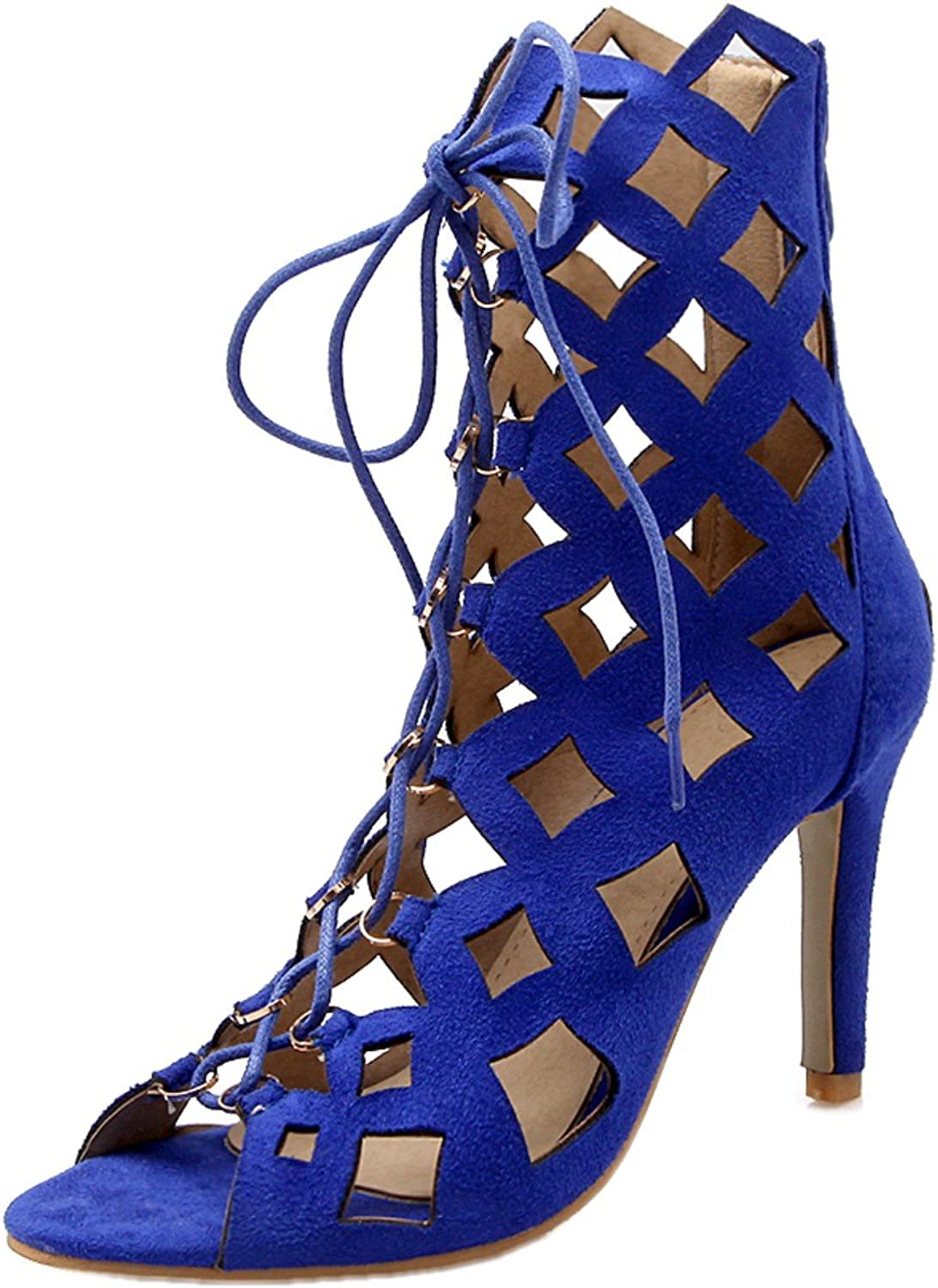 Rongzhi Womens Gladiator High Heels Stiletto Hollow Zip Lace Up Heeled Sandals Party Prom shoes Open Toe