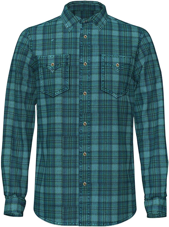Wrangler Men's Retro Premium Turquoise Large Plaid Long Sleeve Button-Down Turquoise
