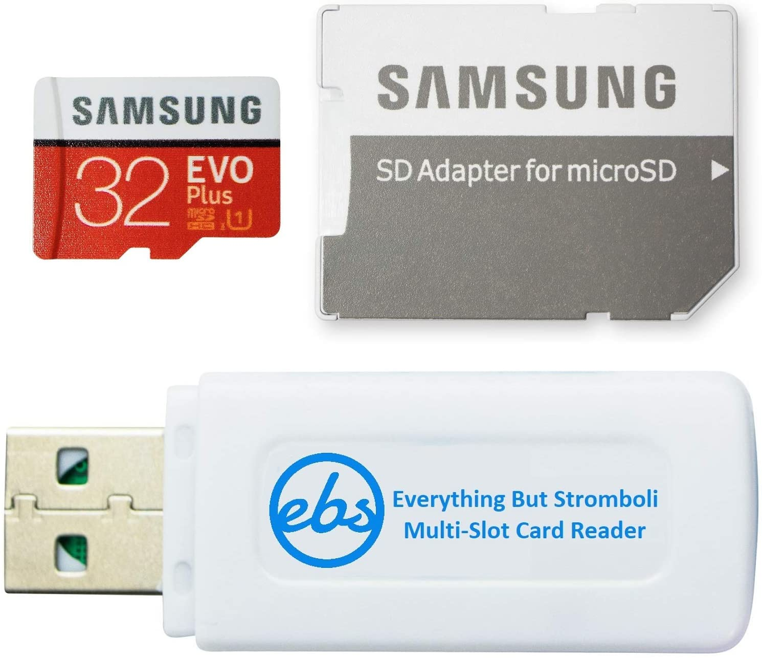 Samsung EVO+ 32GB Micro SD Memory Card for Samsung Tablet Works with Galaxy Tab A7 FE, Tab S7 Lite, S7 FE 5G Tablet (MB-MC32) Bundle with (1) Everything But Stromboli SD & MicroSDHC Memory Card Reader