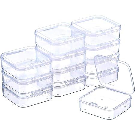 SATINIOR Boîte de Stockage de Perles en Plastique Transparent avec Couvercle à Charnière pour Perles et Plus (2.12 x 2.12 x 0.79 Pouces)