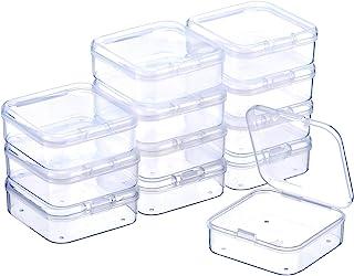 SATINIOR Boîte de Stockage de Perles en Plastique Transparent avec Couvercle à Charnière pour Perles et Plus (2.12 x 2.12 ...