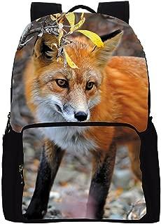 Datomarry Fox Print Durable Fashion Student Backpack Bag Pack for Men Women