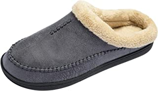 Ranberone Men's Slippers Microsuede Upper Moccasin House Shoes with Fuzzy Plush Lining Indoor and Outdoor