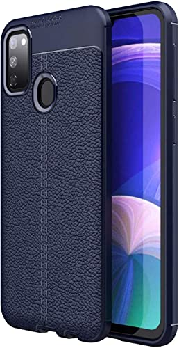 ALOIN Leather Textured Autofocus Soft Back Case Cover For Samsung Galaxy M31 Blue