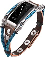 Marval.P Compatible for Fitbit Inspire Bands, Handmade Leather Inspire HR Band, Replacement Unique Bracelet, Wristbands Adjustable Size, Fashion Wrist Band Straps Women Men Lover (Tiffany Blue)