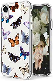 iPhone XR Case,Spevert Flower Pattern Printed Clear Design Transparent Hard Back Case with TPU Bumper Cover for iPhone XR 6.1 inch 2018 Released (Butterfly)