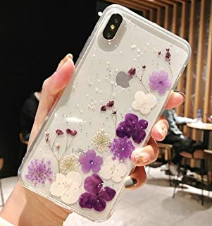 iPhone 8 Plus Case with Flowers, JANDM Handmade Pressed Dried Flowers Soft Silicone Girls' Crystal Glitters Case for iPhone 7 Plus/iPhone 8 Plus (Purple, for iPhone 7 Plus/8 Plus)