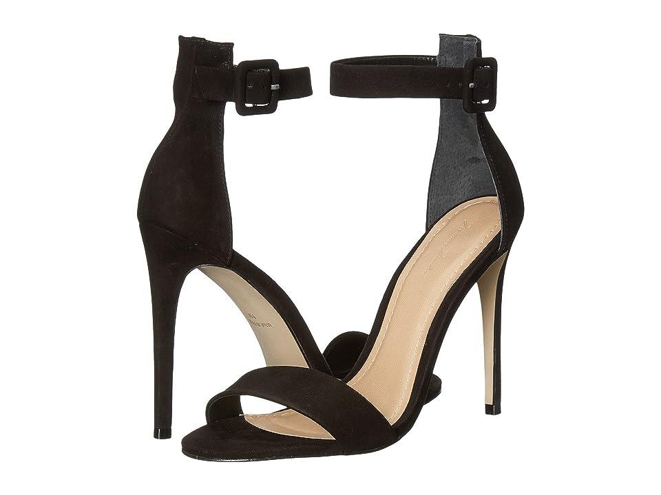 Massimo Matteo Open Toe Strap Pump (Black Nubuck) High Heels