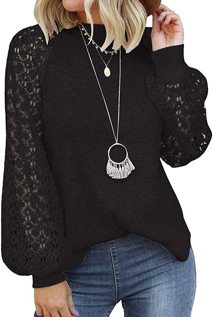 Womens Long Sleeve Tops,Lace Casual Blouses Waffle Knit Blouse Trendy Ballon Sleeve Lace Tops Comfy Pullover Tunic Tops