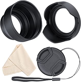 waka 58mm Lens Hood Set, Reversible Tulip Flower + 3 Stages Collapsible Rubber Lens Hood + Center Pinch Lens Cap with Cap Keeper Leash + Microfiber Cleaning Cloth