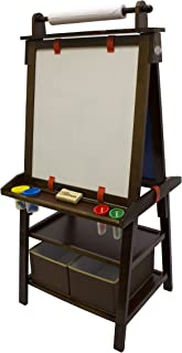Little Partners 2-Sided A-Frame Art Easel with Chalk Board, Magnetic Dry Erase, Storage, Paper Feed and Accessories for Toddlers, Espresso