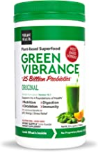 Vibrant Health, Green Vibrance, Plant-Based Superfood Powder, 25 Billion Probiotics Per Scoop, Vegetarian and Gluten Free, 30 Servings (FFP)