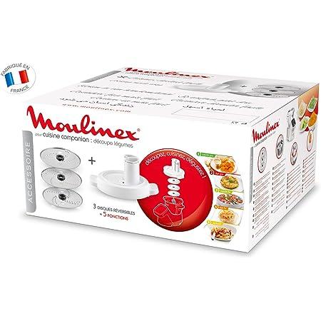 Moulinex Accesorios XF383110 - Accesorio cortador de 3 discos, eje rotación, tapa con doble tubo, color blanco para Cuisine Companion y Cuisine ...