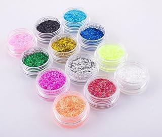 Qimisi 12 Colors Glitter Acrylic Strip Lace Dust Beads Nail Art Tips Gel Polish Deco