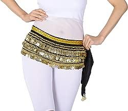 Whitewed Velvet Belly Dance Coin Hip Scarf Belt Egyptian Cabaret Tribal Fusion