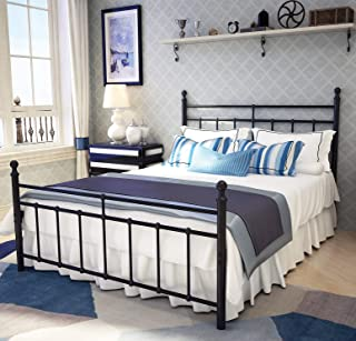 Metal Bed Frame Full Size with Vintage Headboard and Footboard Platform Base Wrought Iron Bed Frame Black