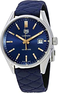 Men's Carrera Blue Leather Strap and Blue Dial with Swiss-Quartz Movement Watch WAR1112.FC6391