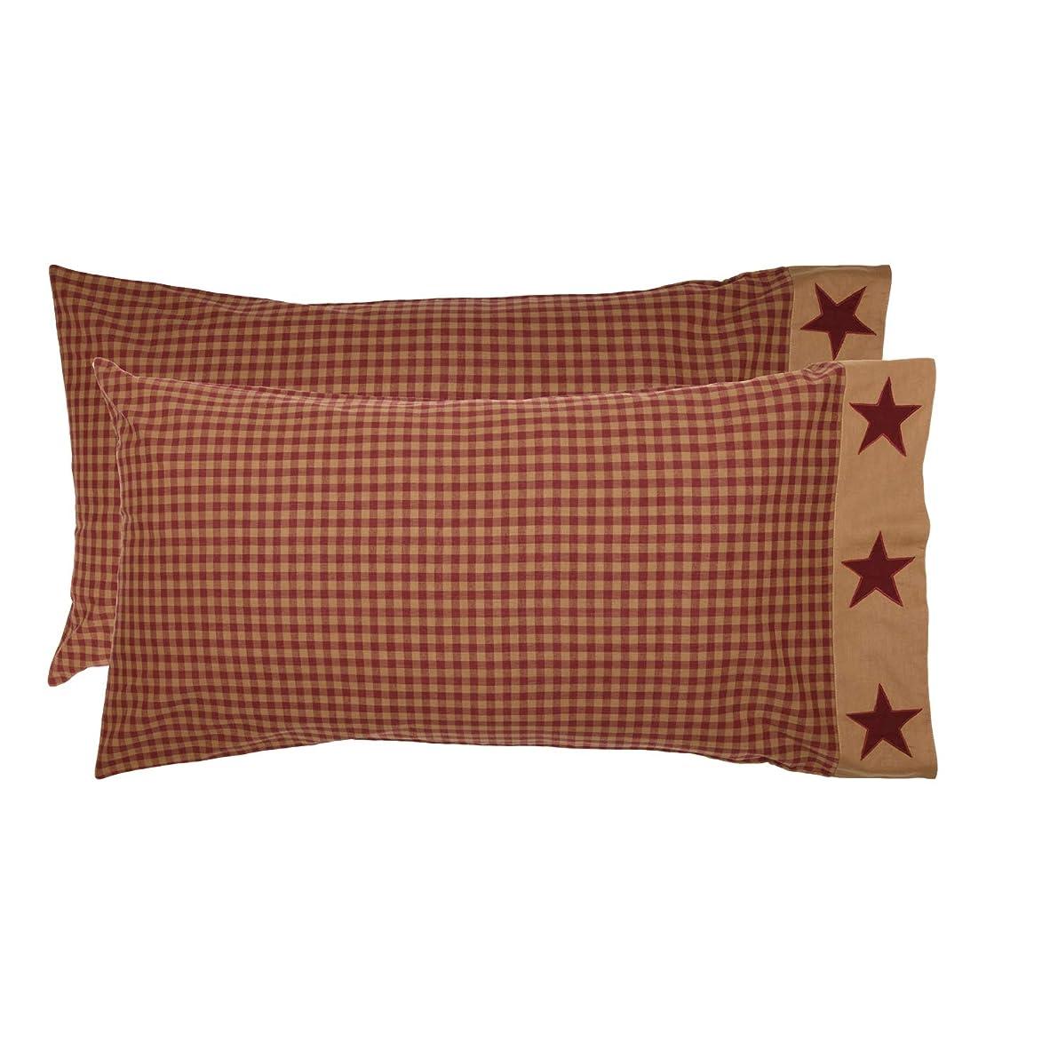 VHC Brands Primitive Bedding Cody Burgundy Border Cotton Appliqued Star King Pillow Case Set of 2 Red