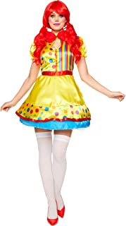 Sexy Clown Girl Costume - Halloween Womens Fun Clown Rainbow Cosplay Dress