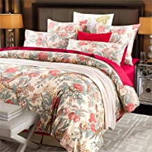Softta Duvet Cover Queen Bedding Farmhouse and Vintage 3Pcs Chinoiserie Peacock Bird Floral and Leaves Branches French Country 100% Egyptian Cotton 800 Thread Count Red