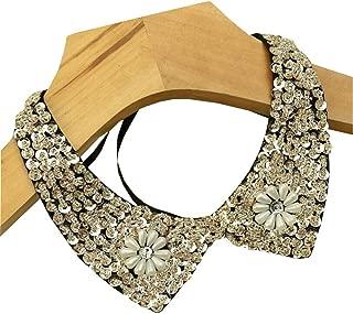 Stylish Detachable Blouse False Collar Sequins Faux Pearls Flowers Fake Collar Choker Peter Pan Necklace