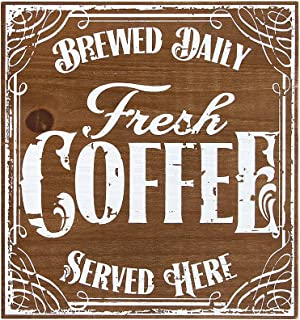 OHIO WHOLESALE, INC. Fresh Coffee Brewed Daily Served Here Wood Box Sign | Home Office Cafe Decor | 8 x 8 x 1 1/12 Inch