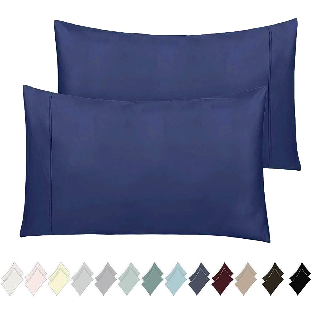 400 Thread Count 100% Cotton Pillow Cases, Royal Blue Standard Pillowcase Set of 2, Long-Staple Combed Pure Natural Cotton Pillows for Sleeping, Soft & Silky Sateen Weave Bed Pillow Covers