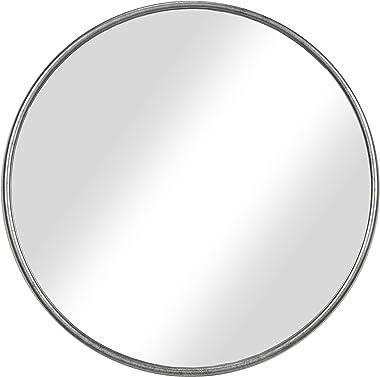 "Martin Svensson Home 30"" Antique Pewter Framed Round Wall Mirror, Diameter"