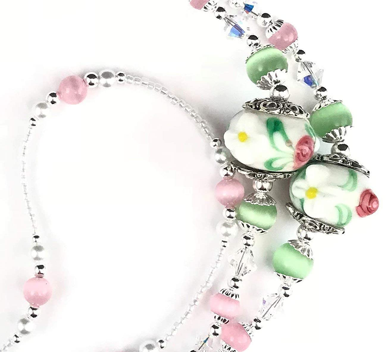 Roses and Daisies, Beaded Lanyard for Women, Badge, ID Holder, Keychain, Lanyard for Teacher, Nurse or Office, Teacher Gift, Nurse Gift, 34 inches, Lampwork Beads, White Pearls, Crystal, Handmade