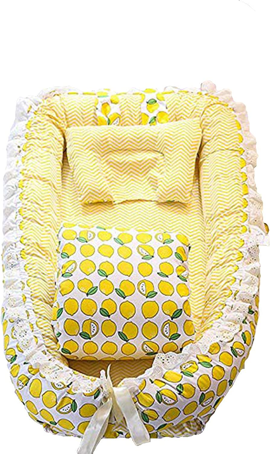 Baby Lounger for Bed,Portable Baby Nest for Newborn,100% Cotton Breathable and Hypoallergenic Sleep Nest Newborn Lounger Pillow for Bedroom Travel Camping-Lightning + Mango Pattern