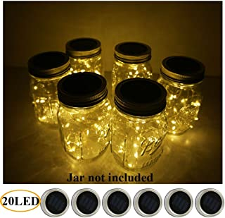 6 Pack Mason Jar Lights 20 LED Solar Warm White Fairy String Lights Lids Insert for Patio Yard Garden Party Wedding Christmas Decorative Lighting Fit for Regular Mouth Jars