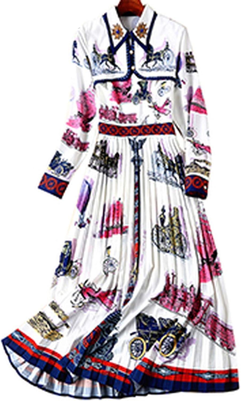 Elegant Print Dresses Beading Diamonds Draped Temperament TurnDown Collar Dress 2019