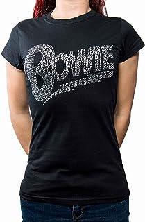 David Bowie T Shirt Flash Diamante Logo 新しい 公式 レディーズ Skinny Fit