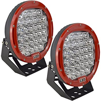 AUXTINGS 9 inch 96w Red Round Spot Led Light Bar Offroad LED Work Light for Jeep Off-road Vehicles 4x4 Atvs Utvs (9 in 96W Red)